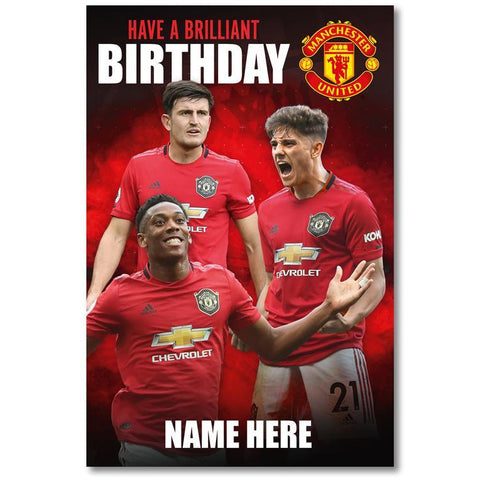 Personalised Manchester United Player Birthday Card - Official Merchandise Gifts