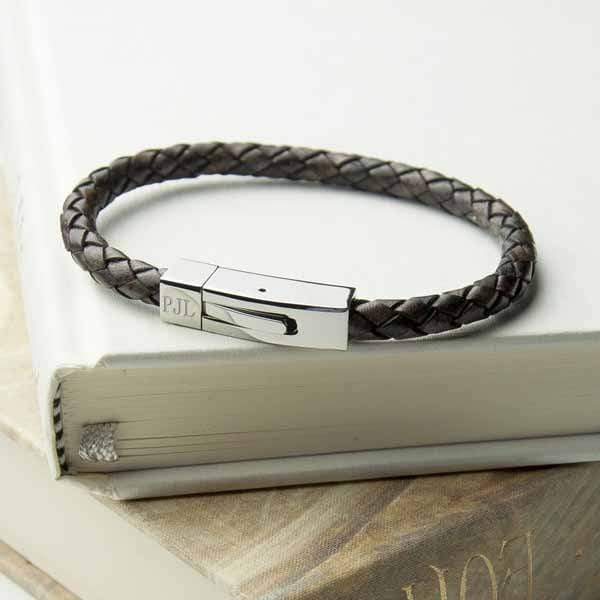 Personalised Men's Leather Bracelet With Tube Clasp - Official Merchandise Gifts