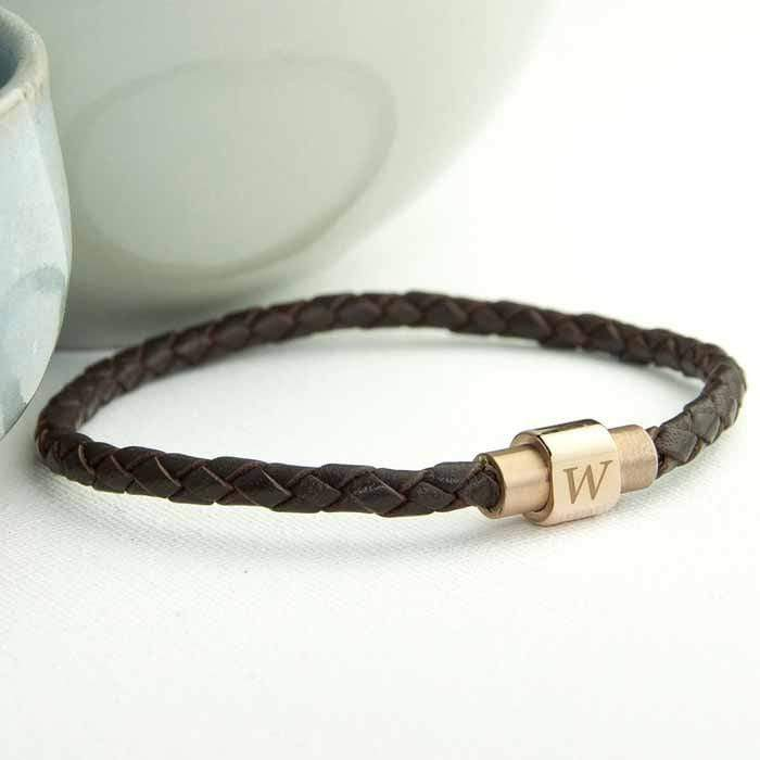 Personalised Men's Woven Leather Bracelet With Gold Clasp - Official Merchandise Gifts
