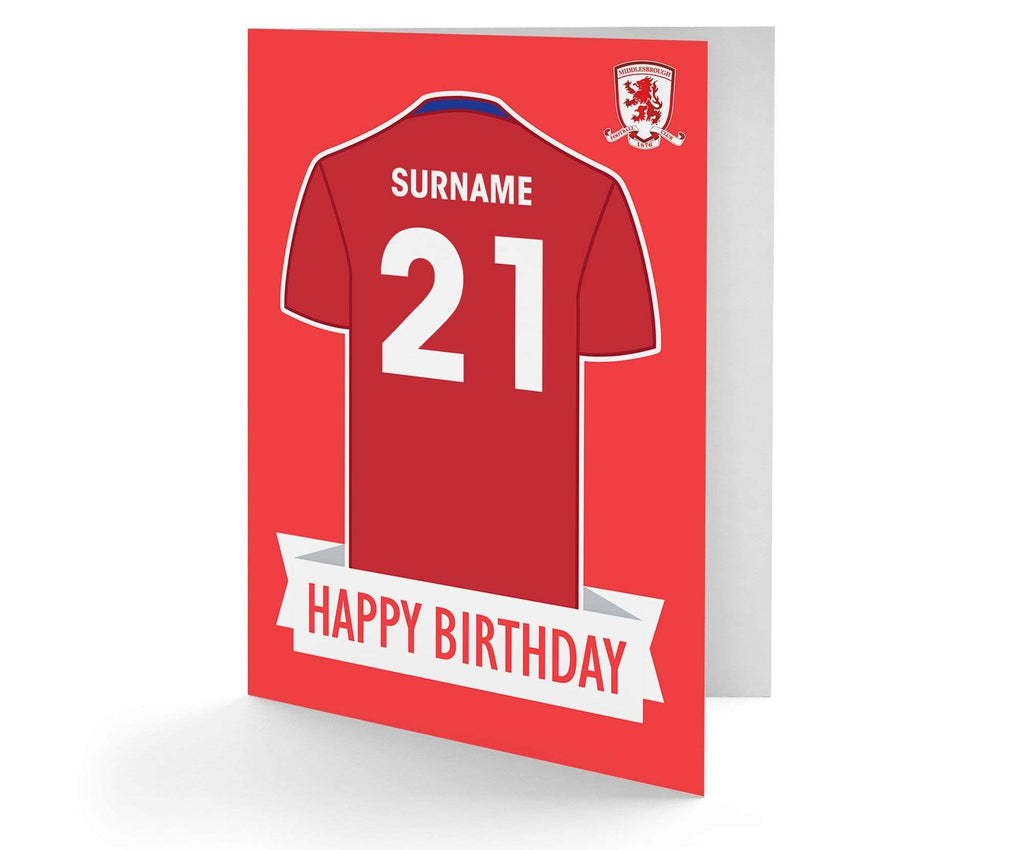 Personalised Middlesbrough Birthday Card - Official Merchandise Gifts