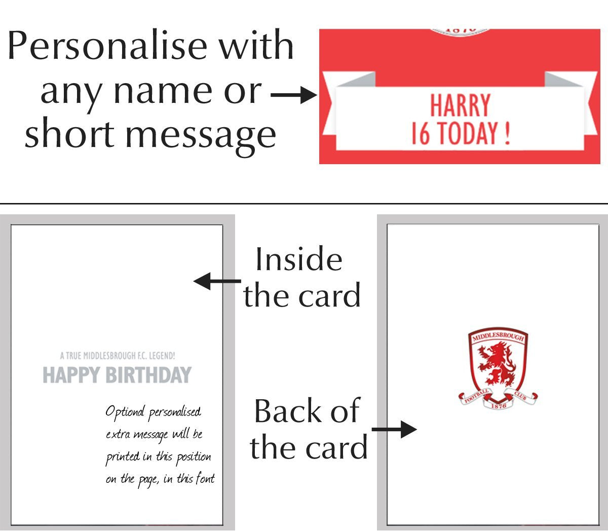 LARGE A5 GLOSSY PERSONALISED MIDDLESBOROUGH BIRTHDAY CARD