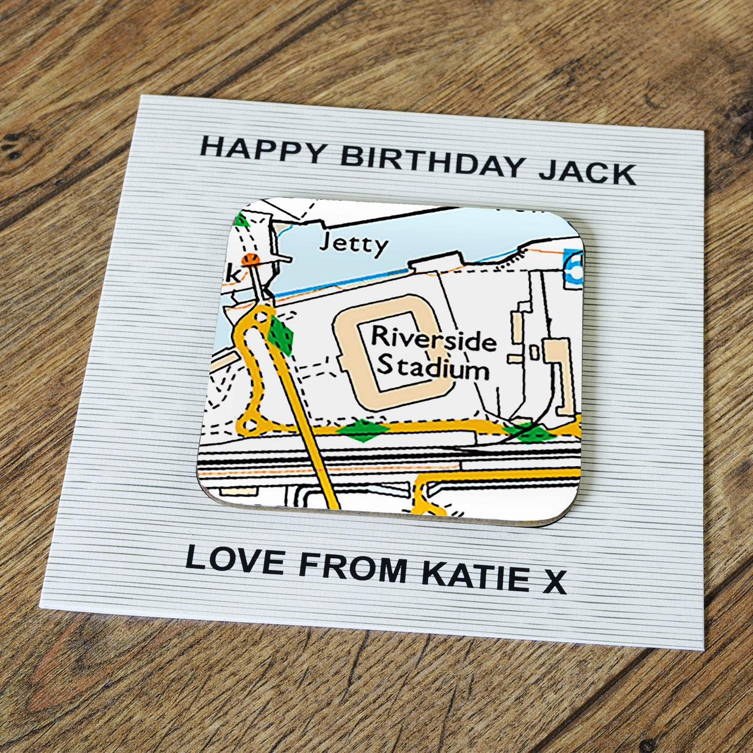 Personalised Middlesbrough Card & Coaster, Barware by Glamorous Gifts UK