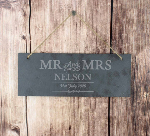 Personalised Mr And Mrs Slate Sign