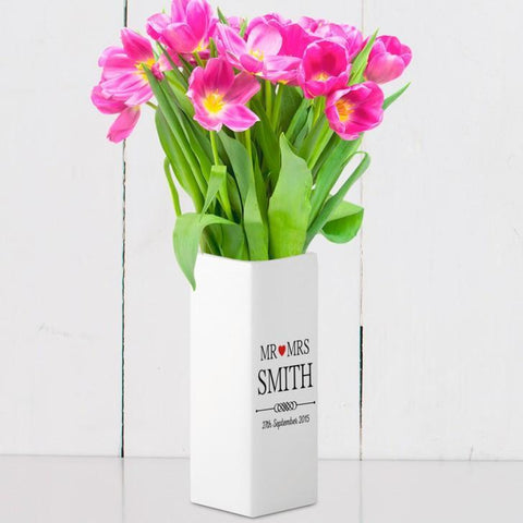 Personalised Mr and Mrs White Square Vase - Official Merchandise Gifts