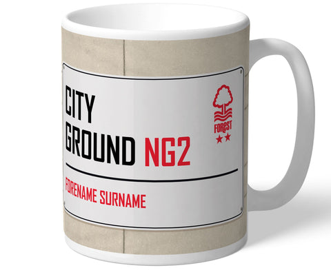Personalised Nottingham Forest Mug - Street Sign - Official Merchandise Gifts