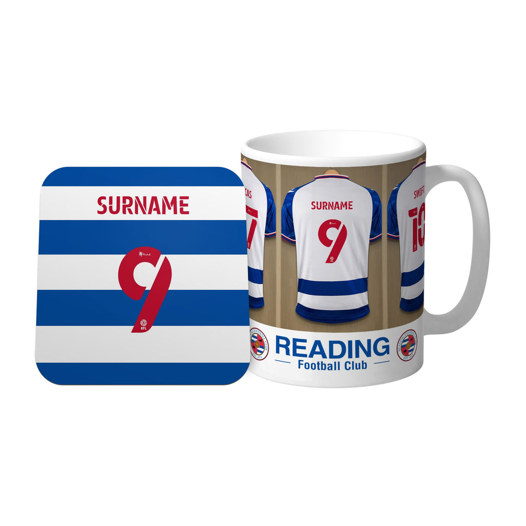 Personalised Reading FC Dressing Room Mug & Coaster Set - Official Merchandise Gifts