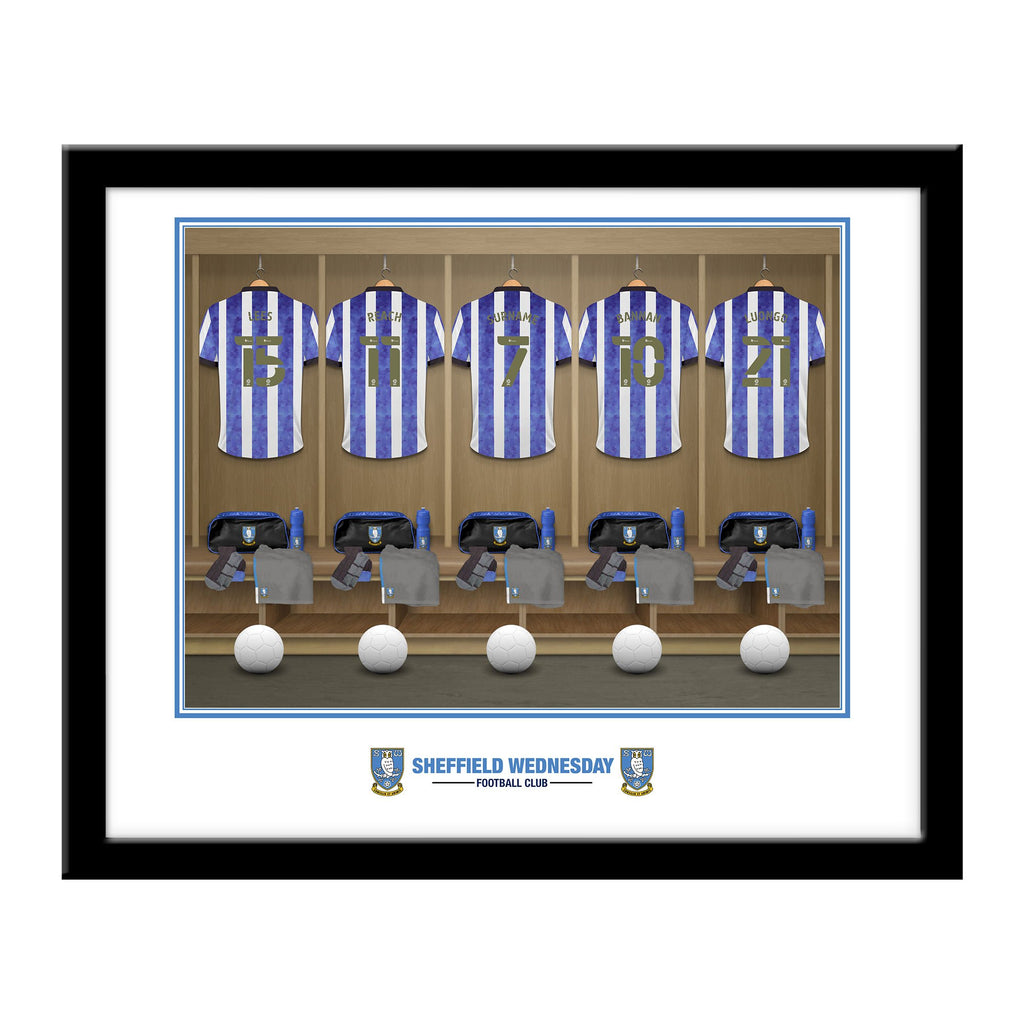 Personalised Sheffield Wednesday FC Dressing Room Framed Print - Official Merchandise Gifts