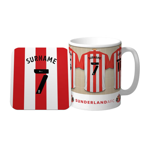 Personalised Sunderland Dressing Room Mug & Coaster Set - Official Merchandise Gifts
