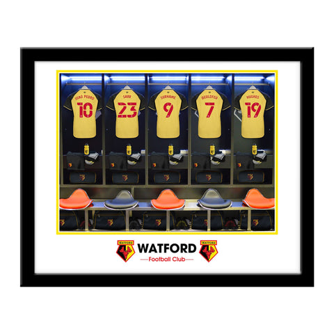 Personalised Watford FC Dressing Room Framed Print - Official Merchandise Gifts