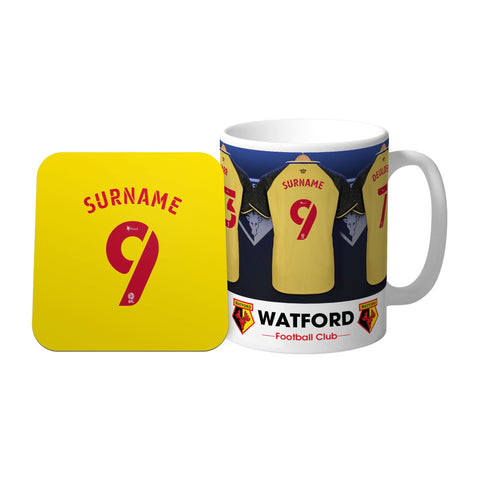 Personalised Watford FC Dressing Room Mug & Coaster Set - Official Merchandise Gifts