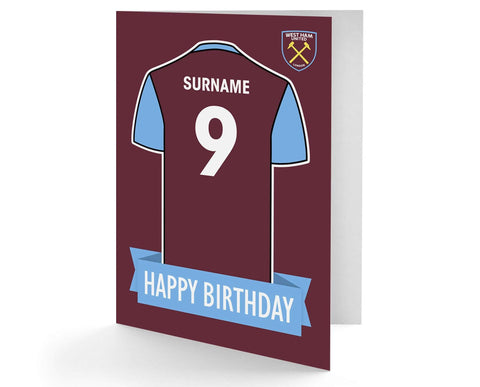 Personalised West Ham Birthday Card - Official Merchandise Gifts