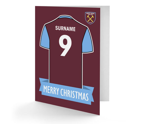 Personalised West Ham Christmas Card - Official Merchandise Gifts