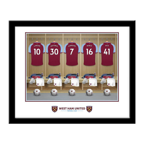 Personalised West Ham Dressing Room Print - Framed - Official Merchandise Gifts