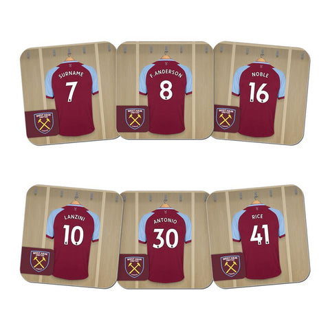 Personalised West Ham United FC Dressing Room Coasters - Official Merchandise Gifts