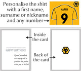 Personalised Wolves Birthday Card - Official Merchandise Gifts