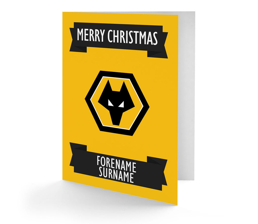 Personalised Wolves Christmas Card - Official Merchandise Gifts