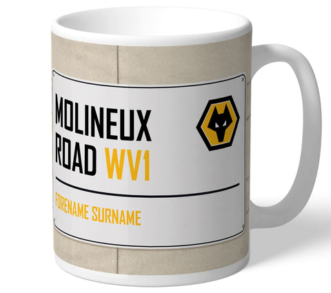 Personalised Wolves Mug - Street Sign - Official Merchandise Gifts
