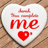 Personalised You Complete Me Heart Keepsake - Official Merchandise Gifts