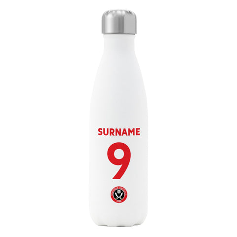 Sheffield United FC  Back of Shirt Insulated Water Bottle - White - Official Merchandise Gifts