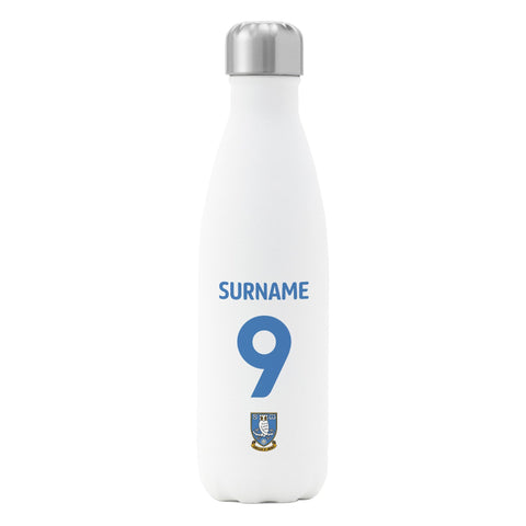 Sheffield Wednesday FC Back of Shirt Insulated Water Bottle - White - Official Merchandise Gifts