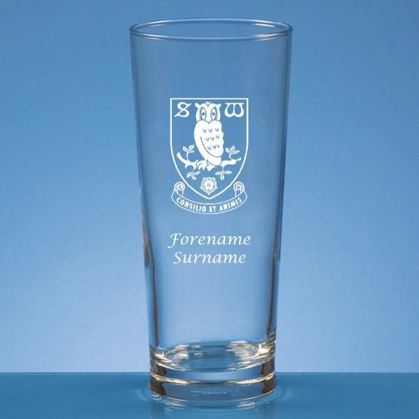 Sheffield Wednesday FC Crest Straight Sided Beer Glass - Official Merchandise Gifts