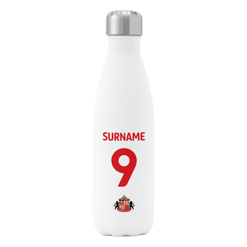 Sunderland AFC Back of Shirt Insulated Water Bottle - White - Official Merchandise Gifts