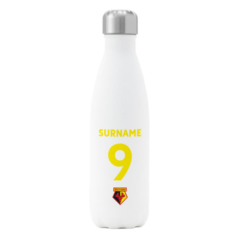 Watford FC Back of Shirt Insulated Water Bottle - White - Official Merchandise Gifts