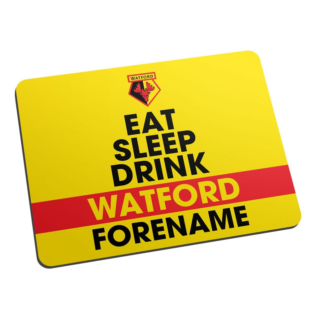 Watford FC Eat Sleep Drink Mouse Mat - Official Merchandise Gifts