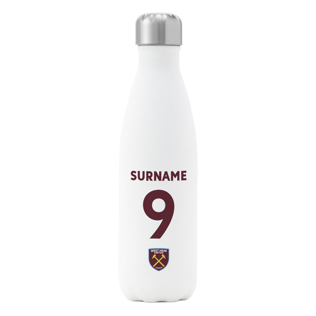 West Ham United FC Back of Shirt Insulated Water Bottle - White - Official Merchandise Gifts