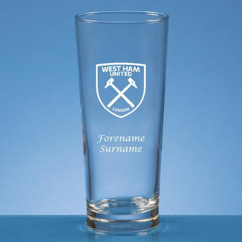 West Ham United FC Personalised Crest Beer Glass - Official Merchandise Gifts