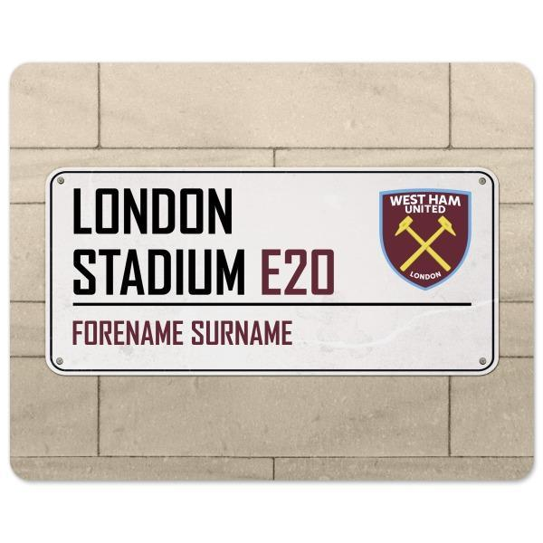 West Ham United F.C STREET SIGN Personalised Mouse Mat