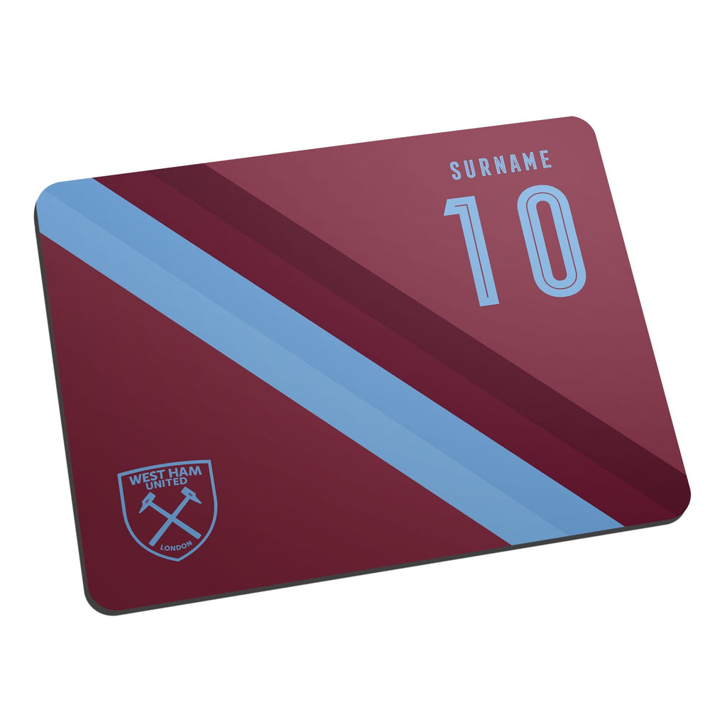 West Ham United FC Stripe Mouse Mat - Official Merchandise Gifts