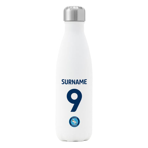 Wycombe Wanderers FC Back of Shirt Insulated Water Bottle - White - Official Merchandise Gifts