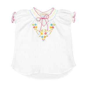 Girl Embroidered Linen Blouse