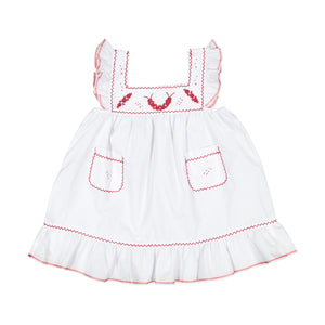 Girl Red Embroidered Dress