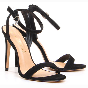 Portofino Black Suede Sandals
