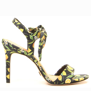 Bow-Embellished Printed Leather Sandals