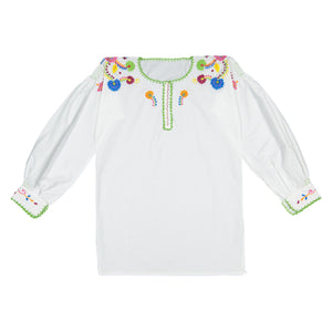 Colorful Embroidered Cotton Blouse