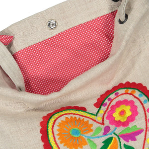Embroidered Linen Tote Bag