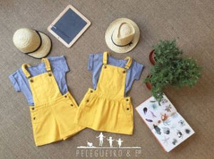 Girl Yellow Skirt Dungarees