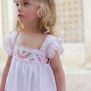 Girl Pink Embroidered Dress