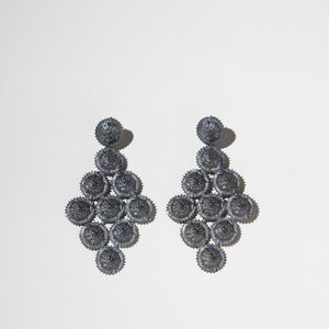 Long Oxidised Sterling Silver Earrings