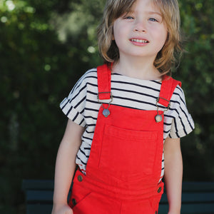 Boy & Girl Red Shorts Dungarees