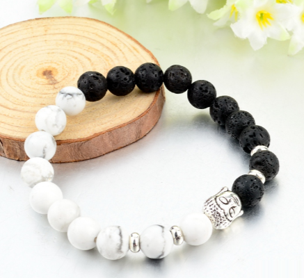 Bracelets Bouddha-Natural Stone Black and White - Bouddha-Zen