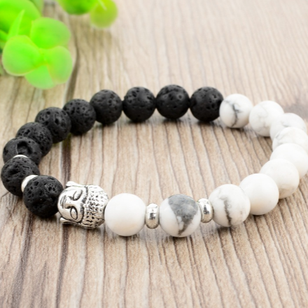 Image of Bracelets Bouddha-Natural Stone Black and White - Bouddha-Zen