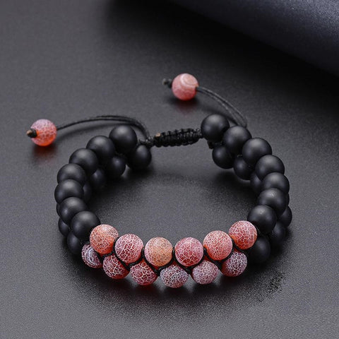 Bracelet Force Vitale Onyx et Quartz Rose
