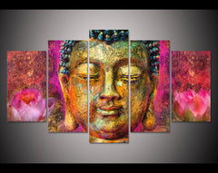 Tableau Bouddha <br> Lotus en 5 Parties
