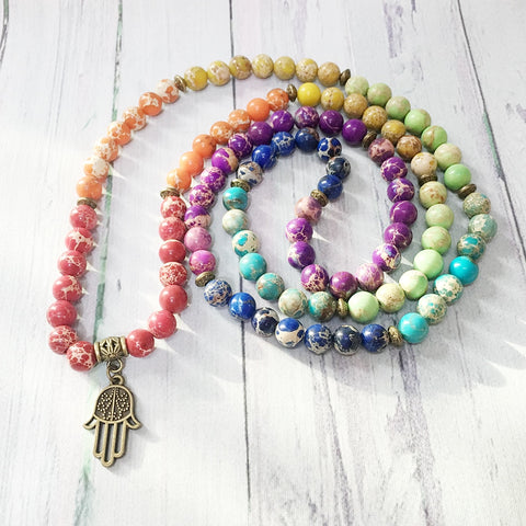 Mala Hamsa happyness en Jaspe Naturel