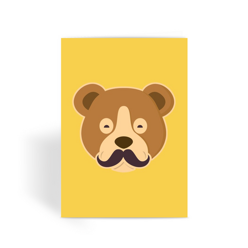 MOUSTACHE BEAR Greeting Card