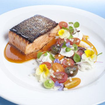Barbequed Huon Salmon with Chilli Paste, Orange Sauce and Summer Tomato Salad
